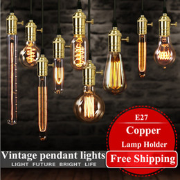 $enCountryForm.capitalKeyWord Canada - 2016 American vintage pendant lights copper lamp holder tungsten light bulb industry pendant lamps Golden Chrome E27 W-filament bulb
