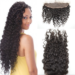 Indian Deep Curl Hair Canada - Top Grade Malaysian Lace Frontal Closures deep curl 13x4 Free Middle 3 Part Full Lace Frontal Human Hair Natural Black bleached knots G-EASY