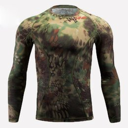 Full hunting camouFlage clothing online shopping - Outdoor sports quick drying elastic long sleeved T shirt bionic camouflage D Tshirt outdoor hunting camping clothing sports T shirts