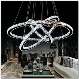 Venta al por mayor de 3 Anillos Crystal LED Chandelier Lámpara de suspensión Crystal Light Lustre Lámpara de suspensión suspendida para Comedor, Vestíbulo, Escaleras