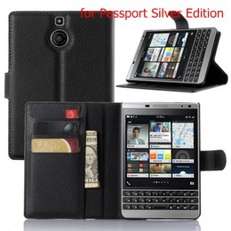 Business Card Holder Cell Phone Case Canada - BB Priv Luxury Business Style Flip Wallet PU Leather Case Cover For Blackberry Passport Q30 Cell Phone Case With Card Holder Stand