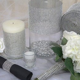 "Bling Party Decorations Australia - 10yard roll 4.75"" 24 Rows Diamond Mesh Rhinestone Ribbon Crystal trim Wrap sparkle bling ribbon Wedding Decoration Party Decor"