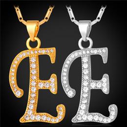E Necklaces Canada - U7 Initial E Pendant Alphabet Necklace Romantic Cubic Zirconia Pltinum 18K Real Gold Plated Fashion Women Men Jewelry Perfect Gift