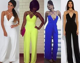 Barato Jumpsuit Clubwear Perna Larga-Mulheres Sexy Plunge V Pescoço Strap Backless largura perna solta Palazzo Jumpsuit Romper Total Clubwear
