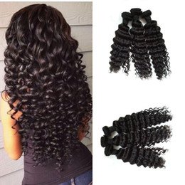 Curly Human Hair For Weaves Canada - Indian Curly Virgin Hair Weave 3 Bundles Deep Wave Human Hair Extensions for Black Women Unprocessed Hair Wefts FDshine