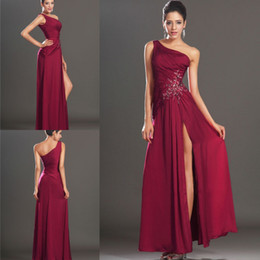 Full Length Red Backless Dress Canada - Simple Long Mother Of The Bride Dresses One Shoulder Appliques Waist High Slit Full Length Chiffon Evening Dress Wine Red Party Gowns HDY
