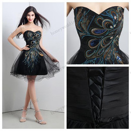 Cheap Christmas Party Dresses Canada - Cheap Embroidery Peacock Prom Dresses Ball Gown Sweetheart Mini Short Party Dress Christmas Dresses Real Image In Stock Evening Gowns