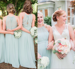 Wholesale Bridesmaid Dresses 2016 Hot Cheap Halter With Sashes Long For Wedding Sage Chiffon Beach Garden Plus Size Party Prom Gowns Under 100