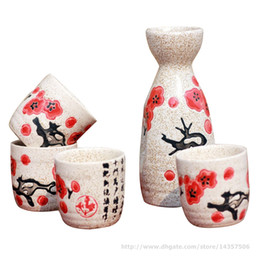 japanese ceramic sets Canada - 5 Piece Ceramic Japanese Sake Set Elegant Sake Bottle and Cup Gift Set Cherry Blossom Floral Design