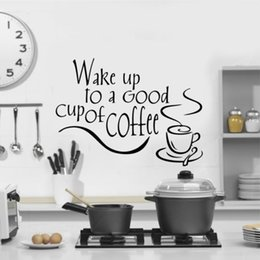 Discount packaging design cup - Wake Up To A Good Cup Of Coffee Decor Vinyl Wall Decal Quote Sticker Inspiration Kitchen Decoration Home Decor