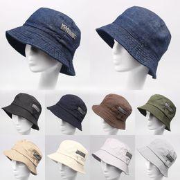 ea569a3fe42a7 Wholesale-2016 Fashion Cottonblend Denim Unisex Cap Bucket Hat Summer  Outdoor Fishing Caps for Men and Women Flat Sun Berets HT51041+20