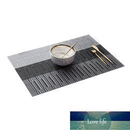 table place settings Australia - Bamboo Pattern Place Mat Heat-Resistant Stain Anti-Skid Washable PVC Table Woven Vinyl Easy to Clean Set of 6