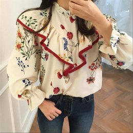 Discount womens blouses flared sleeves Womens Shirt Vintage Fashion Floral Women Blusas Korean Style Ruffles Patchwork Half Turtleneck Blouse Flare Sleeve Spring Shirts 64211