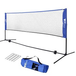 amzdeal Badminton Net for Kids Adult 14FT Portable Backyard Volleyball Tennis Training Set with Adjustable Heights, Indoor Outdoor Use (No Rackets)