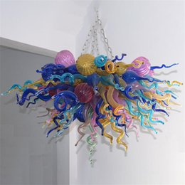 Modern Suspension Chandelier Nordic Lamps Hand Blown Glass Chandeliers with Led Bulbs Lighting Multicolor 48 By 36Inches American Style for Home Decoration Lights