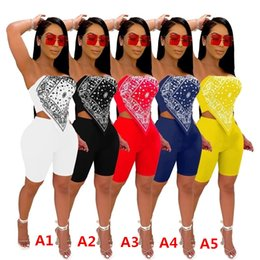 Wholesale sexy outfits resale online - Women Tracksuits Designer Clothes Two Piece Outfits Nightclub Sexy Printed Outfits Folded Embroidered Tops Shorts DHL