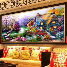 Ingrosso 5D Diamond Mosaico Paesaggi Garden Lodge Crystal Diamond Pittura Kit punto croce Diamanti Ricamo decorazione della casa Git 1227 V2