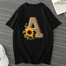 Wholesale s letter alphabet resale online - Sunflower Alphabet T Shirt Oversized T Shirt Fashion Streetwear Letter Print Women Causal Graphic Tee Harajuku Tops Women s