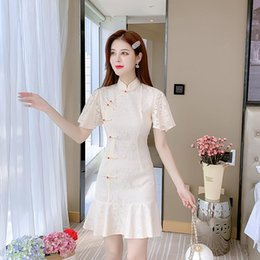 girl chinese cheongsam dress UK - Summer Young Girl Modified Dress Vintage Retro Chinese Improved Cheongsam Elegant Mandarin Collar Female Qipao Ethnic Clothing