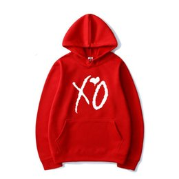 Wholesale xo resale online - men s and womens Clothing Hoodies Singer Printed The Weeknd Popular Trendy Men XO Women Casual Hip Hop Hooded Sweatshirt Pullover Fashion Hoodie Coat1DUZR