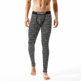 Wholesale thin elastic underwear resale online - Men s Pants Seobean autumn pants underwear elastic thin basic warm pants