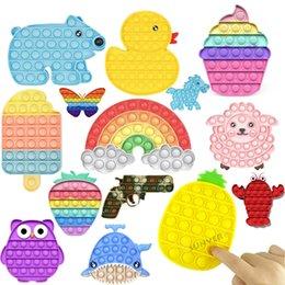 Vente en gros Tiktok Rainbow Push Fidget Toy Sensory Push Bubble Fidget Sensory Fidget Sensory Besoins Spéciale Stress Stress Stress Stress pour les travailleurs de bureau Fluorescen Cadeau DHL Navire
