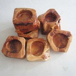 Опт Творческая личность искусство деревянные нерегулярные коричневые серые портативный семейный автомобиль Ashtray маленький подарок оптом