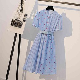 Wholesale trendy knee length dresses resale online - Chiffon Trendy Fashion Belt Plus Size Women Summer Dress Slim New Dot Short Sleeve Round Neck Knee length Blue Dress
