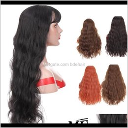Discount long hairstyles black hair Synthetic Products Drop Delivery 2021 Mumupi Orange Color Brown Black Long Water Wave Curly Hairstyle For Women Blond Girl Cosplay Fake Hair