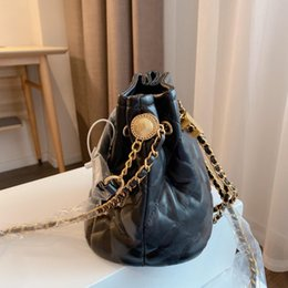 drawstring leather bags women Canada - Designer Luxury Women Fashion Drawstring Classic Chain Shoulder Bags Real Leather Lady Handbags High Quality Designers Composite Bag Black Socialite Package