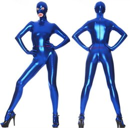 Discount halloween outfit men Unisex Blue Shiny Lycra Metallic Catsuit Costume Full Outfit Sexy Women Men Bodysuit Costumes With Open Eyes Mouth Halloween Party Fancy Dress Cosplay Suit M049