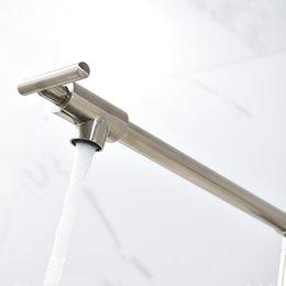 Mathed Nickel Кухонный кран Однорубка с одним ручкой наполнитель наполнитель настенный носик настенный монтаж холодной ванной комнаты на Распродаже