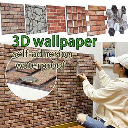 30*30cm 3D Wallpaper Stickers DIY Brick Stone Self Adhesive Waterproof Wall Paper Home Decor Kitchen Bathroom Living Room Tile Sticker Renovation on Sale