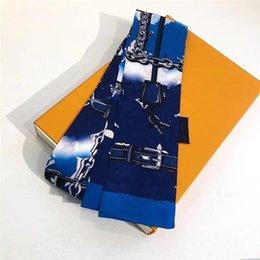 Wholesale Handkerchiefs classic Silk HANDBAG Bag scarf Headbands women letter flower scraves Top grade hair Bands 8x120cm