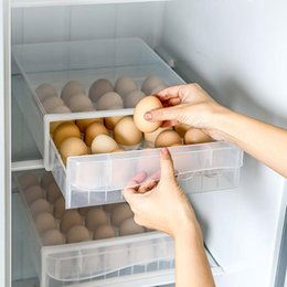 layer drawer box UK - Egg Storage Box Drawer-Type Refrigerator Plastic Transparent Dumpling Household Single Double Layer Tray Bottles & Jars
