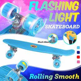 Skateboard 22in Mini Cruiser Children's Scooter Board Pastel Longboard Fish Skate Flashing Wheels Banana Skateboarding on Sale