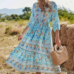 Wholesale resort dresses sleeves for sale - Group buy Women s Spring And Summer Retro Dress Floral Print V neck Fashion Resort Style Mid Sleeve Dresses Loose Casual All Match Skirt