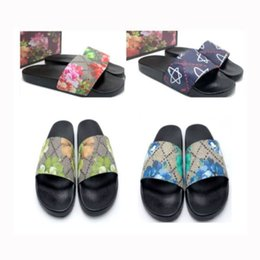 Floral sandals women men Big size us5- us13 blossom mix 100 models flower animals Slide Summer Fashion Wide Flat Slippery Slipper with box on Sale