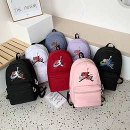 high school schoolbag UK - Schoolbag women's backpack Korean version net red 2021 new high school students' pure color campus canvas bag XKHA