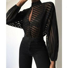 Wholesale sheer tops for sale - Group buy New Fashion Women Mesh Sheer See through Long Sleeve Top Shirt Blouse Black