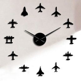 Flying Plane Fighter Jet Modern Large Wall Clock DIY Acrylic Mirror Effect Sticker Airplane Silent Wall Clock Aviator Home Decor 1384 V2 on Sale