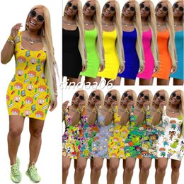 Wholesale mini sexy women cartoons resale online - Plus Size Summer Women Cartoon Print Dresses Sexy Mini Skirts Sleeveless Bodycon Dress Fashion High Quality Skinny Clubwear Casual Dress