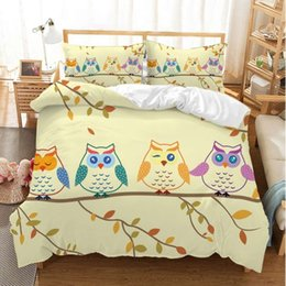 owl bedding set full Canada - Home Textiles Autumn Owl Trio Bedding Set 100% Microfiber Yellow Duvet Cover Pillowcase Children's Room Decoration Cartoon Birds Bed Linens