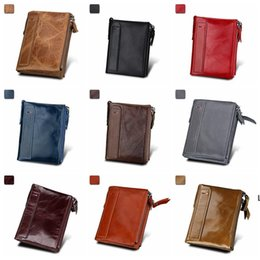 mens designer bags Canada - Mens Wallet double zipper RFID Blocking card wallet for men Minimalist Vintage Genuine Cowhide leather Organization Storage Bags DHF6331