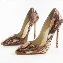 shoes python UK - Sexy Python Pattern Women Leather Pumps Point Toe Shallow Mouth Slip On High Heels Stiletto Wedding Party Dress Shoes