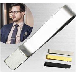 Wholesale Stainless Steel Tie Clip Pins Bars Golden Slim Glassy Necktie Business Suits Accessories TI01 861 Q2