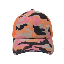 Discount mesh ball caps outdoors Designers mesh ball hat criss cross ponytail baseball caps Camouflage color summer snapback adjustable outdoor beach sports visor HWF6489