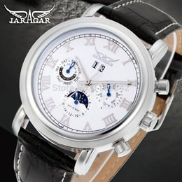 moon calendar dates UK - High-grade Moon Phase Auto Date Week Month Day-night Watch Men Automatic Jargar Montre Gift Box  JAG349M3S1 Wristwatches