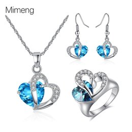 necklace india UK - Korean crystal zircon Heart Necklace Earring Ring Set popular DIY Christmas gift