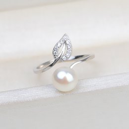Leaf Ring Mounts 925 Sterling Silver Blanks Zircon Hollow Cut Leaf Design Pearl Settings 5 Pieces 1110 Q2 on Sale